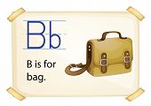 Illustration of alphabet B is for bag