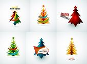 Set of Christmas tree modern paper geometric designs, simple icons