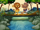 Illustration of a caveman and a lion crossing the river