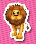 Sticker of a lion on a pink background