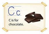 Illustration of alphabet C is for chocolate