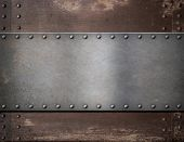 pic of plating  - metal plate with rivets over rustic steel background - JPG