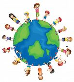 Illustration of children all around the world