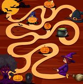 A halloween maze game with pumpkins
