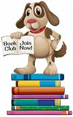 Illustration of a dog standing on the books