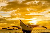 boat at sunset sea background