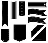 Illustration of different designs of black ribbons