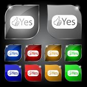 Yes Sign Icon. Positive Check Symbol. Set Of Colored Buttons. Vector