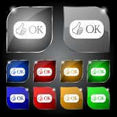 Ok Sign Icon. Positive Check Symbol. Set Of Colored Buttons. Vector