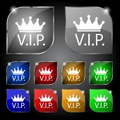 Vip Sign Icon. Membership Symbol. Very Important Person. Set Of Colored Buttons. Vector