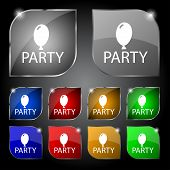 Party Sign Icon. Birthday Air Balloon With Rope Or Ribbon Symbol. Set Of Colored Buttons. Vector
