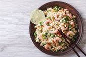Japanese Fried Rice With Seafood, Eggs And Vegetables Top View