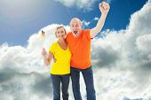 Happy german couple cheering at camera against blue sky with clouds
