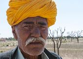 Rajasthan Man With Orange Turban.