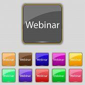 Webinar Web Camera Sign Icon. Online Web-study Symbol. Website E-learning Navigation. Set Of Colored