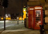 Red Phone Booth London Big Ben Background At Night