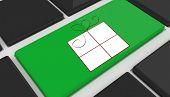 Present against black keyboard with green key