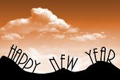 Happy new Year against a cloudy skyline