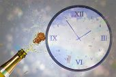 Flying colours against digitally generated roman numeral clock