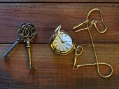 Pocket watch and keys
