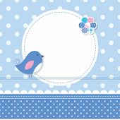 blue bird baby boy greeting card