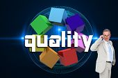 The word quality and thinking businessman against futuristic glowing black background