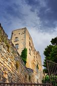 foto of sadism  - Ruined castle of the Marquis de Sade in village Lacoste Provence France - JPG