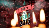 Happy new year against candle burning against festive background