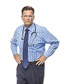Serious Male Doctor with Stethoscope Isolated on a White Background.