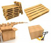 Warehouse Logistic Concepts - Set of 3D Illustrations.