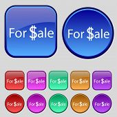 For Sale Sign Icon. Set Of Colored Buttons. Vector