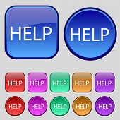 Help Point Sign Icon. Set Of Colored Buttons. Vector