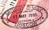 British Visa Stamp In Your Passport. Closeup