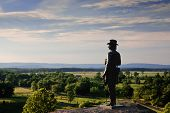 Statue Of Gen. Warren At Gettysburg, Late Afternoon