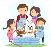Illustration of a Family Giving Their Pet Dog a Bath