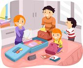 Illustration of a Family Packing Their Things for a Trip