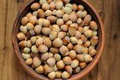 Hazel Nuts In Clay Bowl