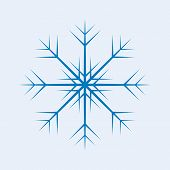 One Isolated Blue Vector Snowflake