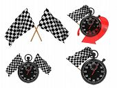 Race Concept - Checkered Flags with a Stopwatch.