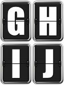 Letters G, H, I, J on Mechanical Scoreboard.