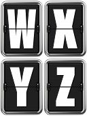 Letters W X V Z on Mechanical Scoreboard.