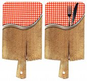 Cutting Boards With Tablecloth And Cutlery