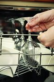 picture of dishwasher  - Kitchen Woman with a clean wine glass on background dishwasher - JPG