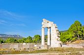 picture of epidavros  - The ruins of the Temple of Asclepius surrounded by coniferous forest Epidaurus Greece - JPG