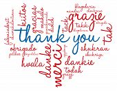 picture of thankful  - Heart shaped Thank You international word cloud on a white background - JPG