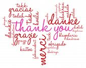 foto of thankful  - Heart shaped Thank You international word cloud on a white background - JPG