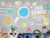 stock photo of recruiting  - Job Search Qualification Resume Recruitment Hiring Application Concept - JPG