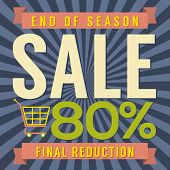 image of year end sale  - Shopping Cart With 80 Percent End of Season Sale Illustration - JPG