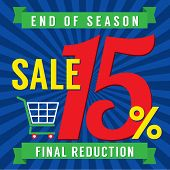 stock photo of year end sale  - Shopping Cart With 15 Percent End of Season Sale Illustration - JPG