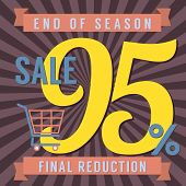 image of year end sale  - Shopping Cart With 95 Percent End of Season Sale Illustration - JPG